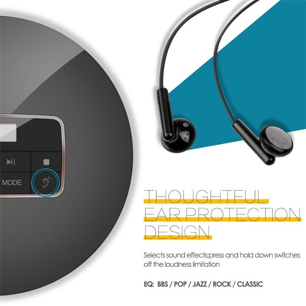 Image 4 - Caliente reproductor de CD portátil con pantalla LCD auriculares  Jack Anti Slip a prueba de golpes a prueba de protección compacto CD de  música disco reproductor WalkmanReproductor de CD