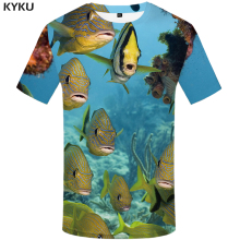 KYKU Brand Fish T Shirt Mens Oversize Fishinger Tropical Printed Tshirt Men 3d T-shirt Funny Shirts Animal White Clothing