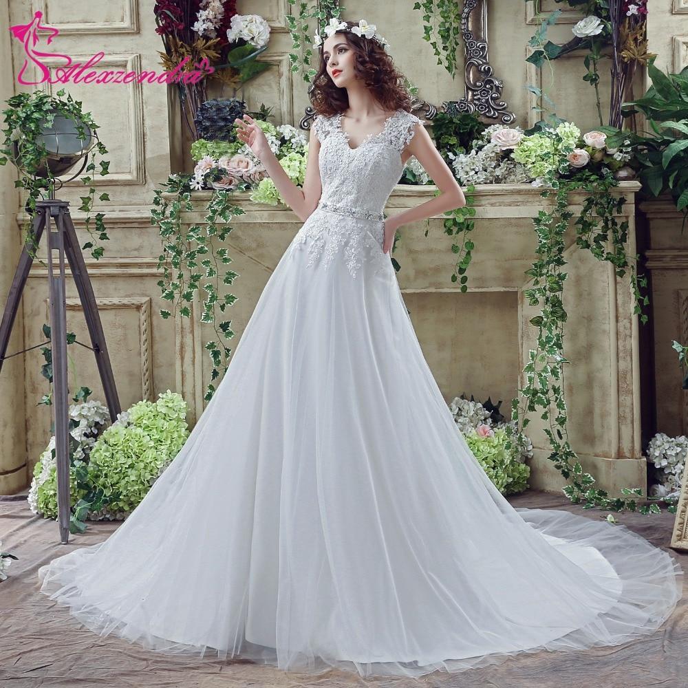 ̿̿̿(•̪ )Alexzendra Stock Dresses V Neck A Line Wedding Dress Cap ...