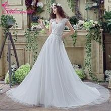Alexzendra Stock Vestidos con cuello en V una línea vestido de novia mangas casquillo Illusion encaje elegantes vestidos de novia listos para enviar