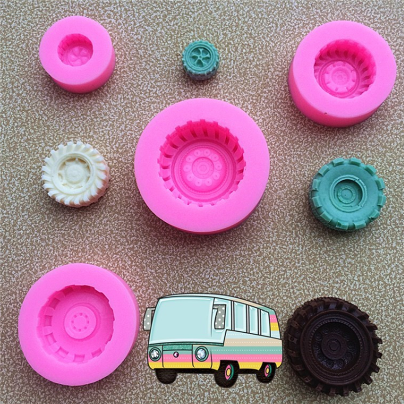 Kitchen Tools 4pcs/set Tires Wheel Cartoon Fondant Cake Molds Chocolate Mould For Kitchen Baking Sugarcraft Decorating