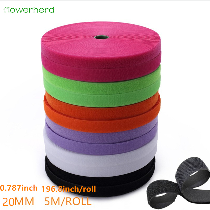 20mm Wide High Quality Hook /& Loop Tape Strip Fastening ⋆ 9 Colours ⋆ 7 Lengths