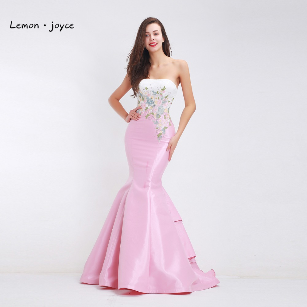 Elegant Mermaid Evening Dresses 2018 off the Shoulder Appliques Backless Maxi Long Dress Simple Party Gown Plus Size Pink