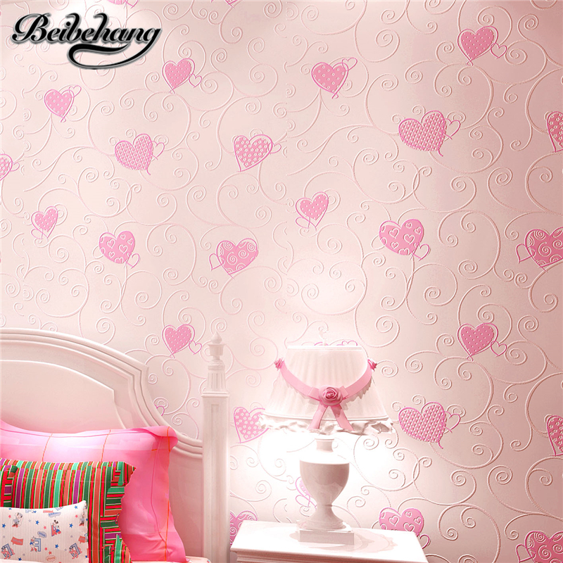 beibehang Non-woven Home Decoration Wallpaper Kids Room Princess Blue/pink Color Cartoon Wall Paper 3d Papel De Parede Roll R490 beibehang non woven wallpaper rolls pink love stripes printed wall paper design for little girls room minimalist home decoration