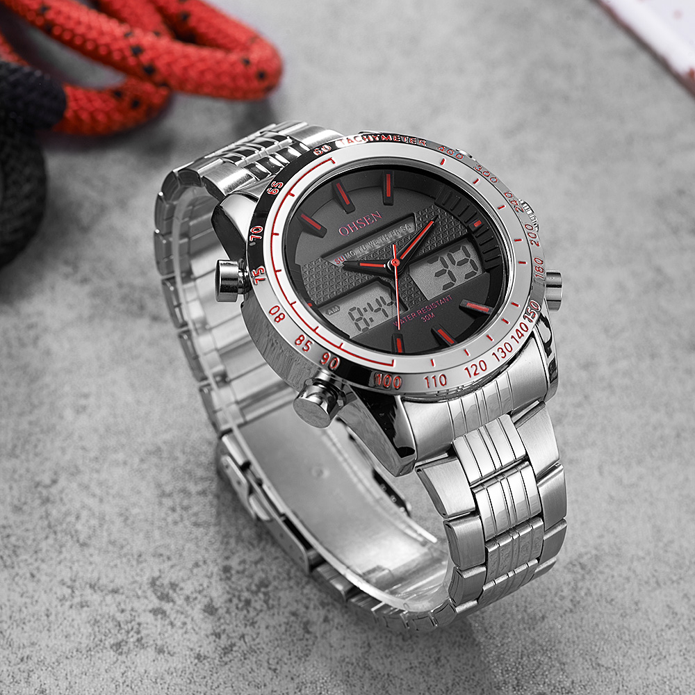 Top Sale Mode OHSEN Merk Sport Digitale Quartz Horloge Militaire Dual - Herenhorloges - Foto 3