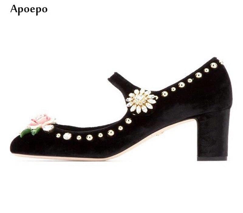 НОВЫЕ новейшие Роза украшения Обувь на высоких каблуках 2018 круглый носок кристалл украшен толстый каблук свадебные туфли женские туфли лод