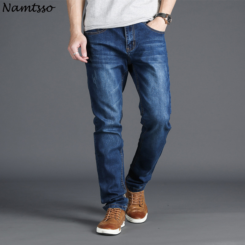 Mens large size waist thin jeans loose fashion casual comfort breathable straight loose  ...