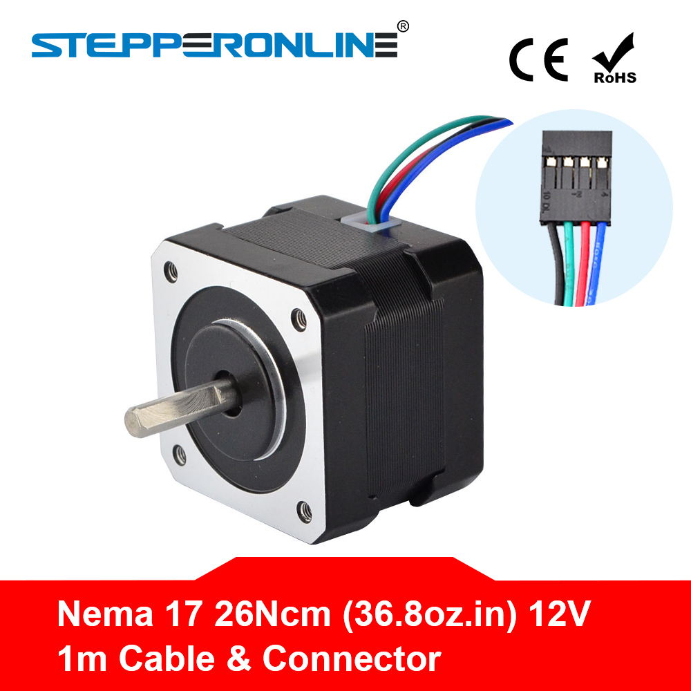 Bateau gratuit! Nema 17 moteur pas à pas 34mm 26Ncm (36.8oz.in) 0.4A 12V Nema17 moteur pas à pas 42BYGH 4-plomb CNC Reprap imprimante 3D