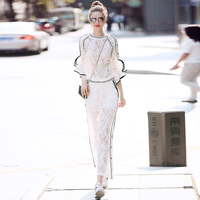 Brand Woman Vintage Runway Designers 2018 Clothes Bohemian Summer Piece Set Hollow Out White Lace Top