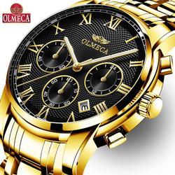 OLMECA zegarek męski Auto data luksusowe biznesu Chronograph zegarek kwarcowy mężczyźni pełna stal zegarek wodoodporny Relogio Masculino w Zegarki kwarcowe od Zegarki na