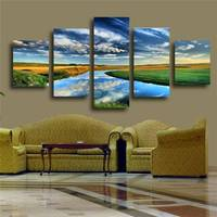 5 Panels Nature Landscape Canvas Print Painting Modern Canvas Wall Art For Wall Decor And Home Decoration Artwork Unframed