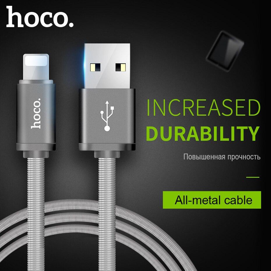 Hoco metal mola de carregamento rápido cabo usb para apple iphone ipad ios carregador cabo sincronização dados fio para iphone x xs max telefone móvel