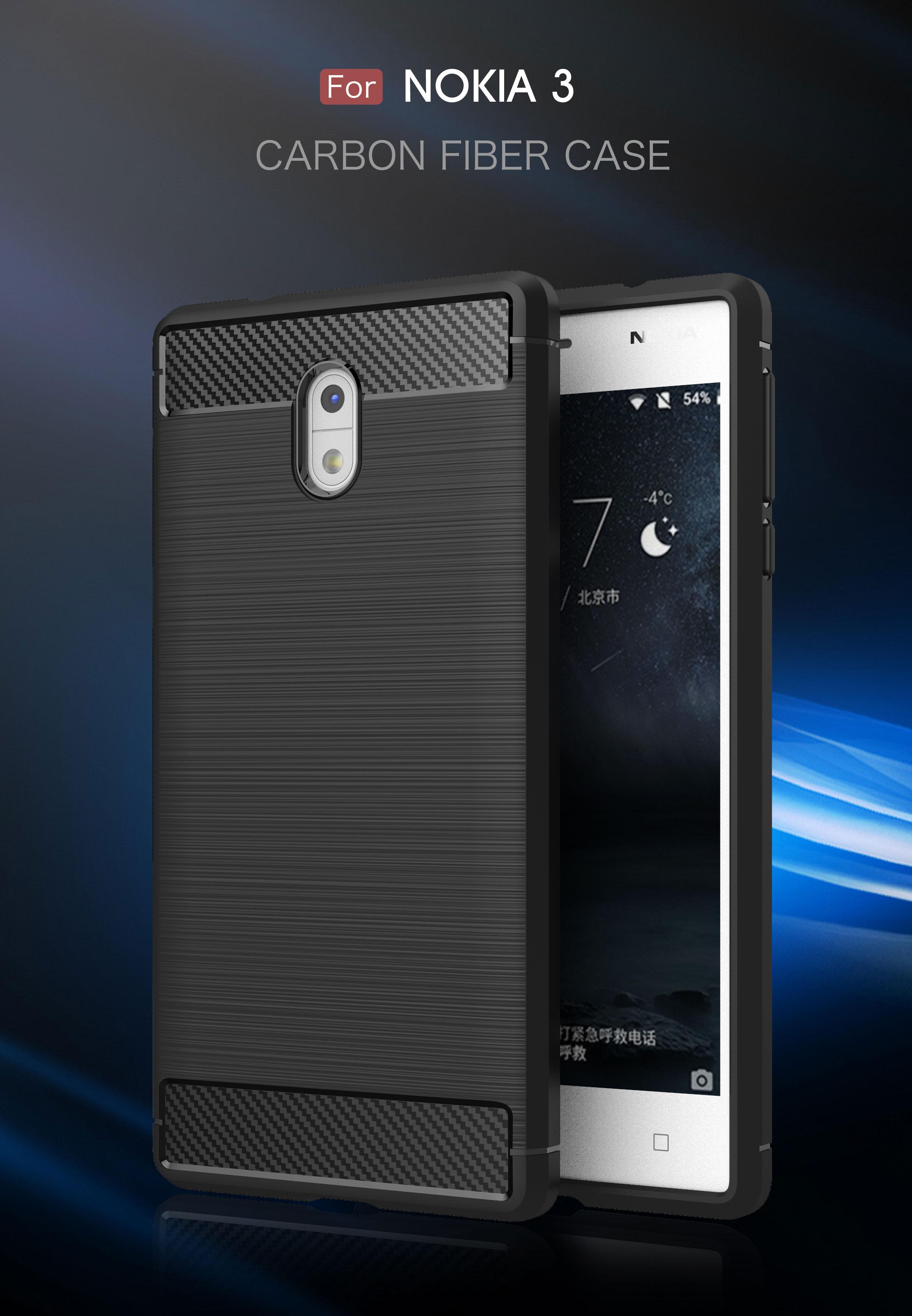Soft Silicone Carbon Fiber Case for etui Nokia 3 ta-1032 Dual Sim Slim TPU Back Cover Nokia-3 Mobile Phone Case for Nokia3 Coque