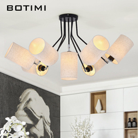 BOTIMI American Chandelier Modern LED Chandeliers Lighting For Living Room Lustres Pendente White Black E27 Lampshades