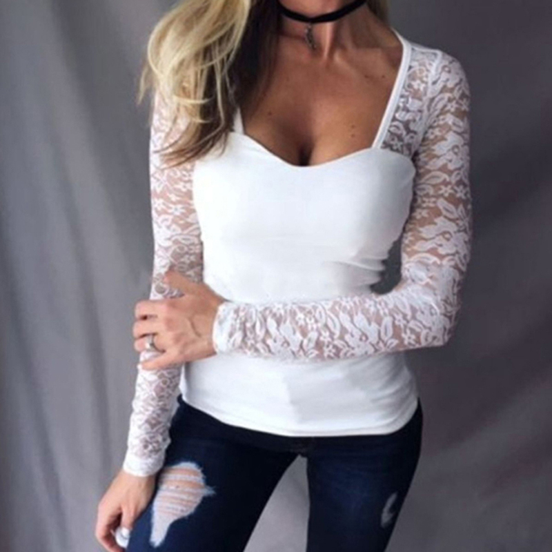 Slim Lace Patchwork Long Sleeve Tops Female T-shirt Sexy V Neck TShirts For Women Brief Solid Color Bottoming tShirt
