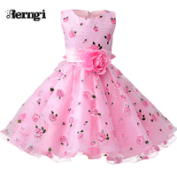 New Brand Girls Princess Dress Pink And Purple Floral Print Kids Party Dress Flower Girls Wedding