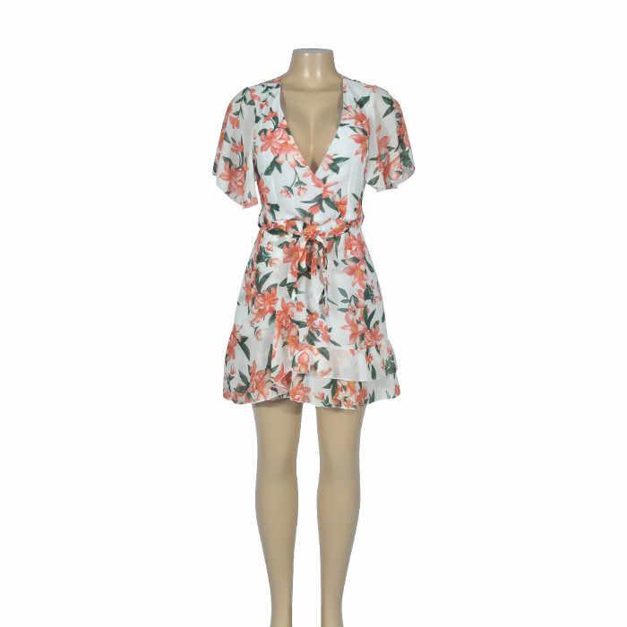 Полиэстер изысканный летний цветочный принт женский короткий рукав сексуальный глубокий v-образный вырез ремень 2019 летнее модное мини платье