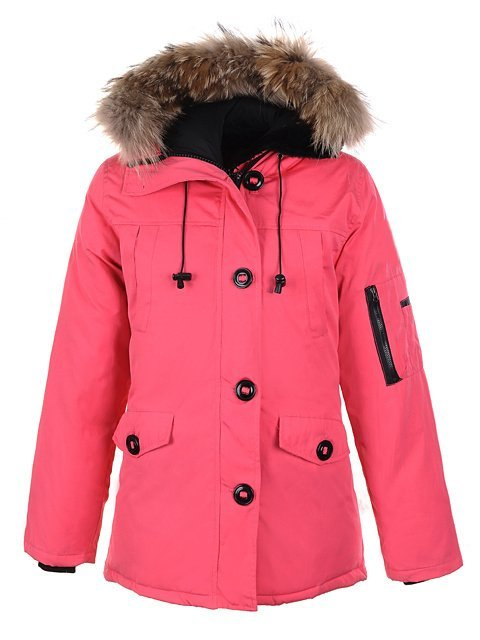 Women's Goose Down Montebello Parka Pink Fur Collar Warm Winter ...