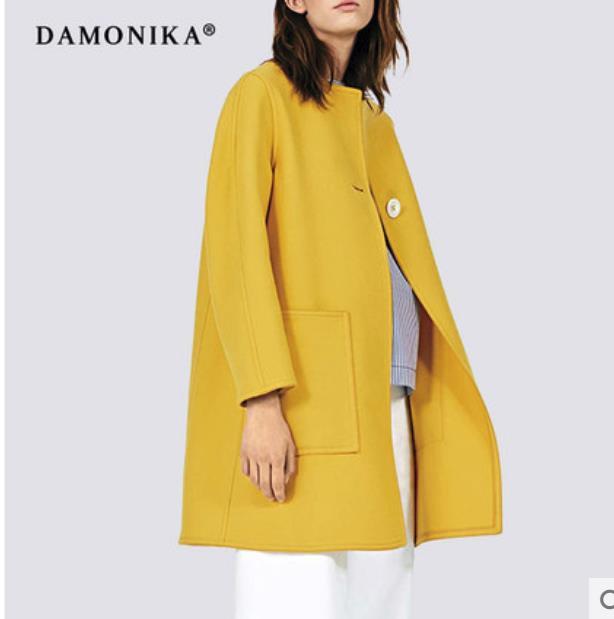 Moda das mulheres da moda de 2018 nova queda das mulheres Europeias e Americanas de lã das mulheres casaco curto curto dupla face cashmere c