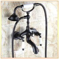 L15536 роскошный настенный кран для ванной с двойной ручкой черного цвета