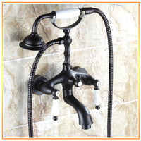 Retail Luxury Blackened Bath Faucet Daul Handle Bath Shower Mixer Wall Mounted Bath Shower Tap Free