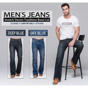 Image 5 - GRG Mens Jeans Tradition Boot Cut Leg Fit Jeans Classic Stretch Denim Flare Deep Blue Jeans Male Fashion Stretch Pants