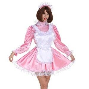 Sissy chica criada Stunnung delantal completo de dulce Corazón de Sharped vestido Cosplay traje uniforme