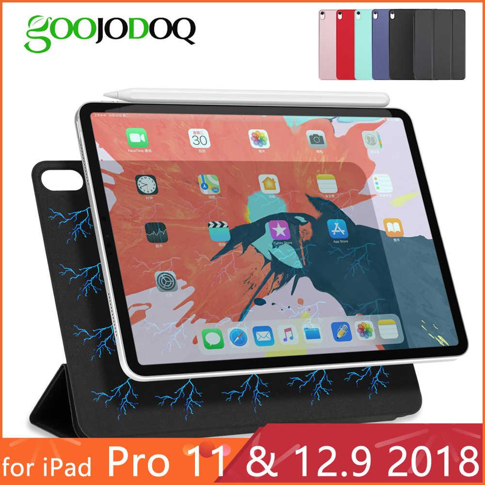 حافظة لجهاز iPad Pro 11 حافظة لجهاز iPad Pro 12.9 2018 Funda غطاء ذكي فائق النحافة مغناطيسي لجهاز iPad 11 بوصة حافظة تدعم الشحن اللاسلكي