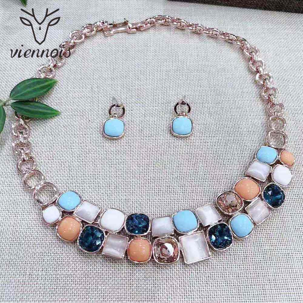 Viennois Rose Gold Color Necklace Set For Women Geometric Colorful Rhinestone Dangle Earrings Set Party Jewelry Set 2019