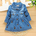 NEW 2017 Spring Girls Trench Coats Denim Jackets For Baby Girl Outfit Sport Clothes Cartoon Print Fashion Child Kids Clothing