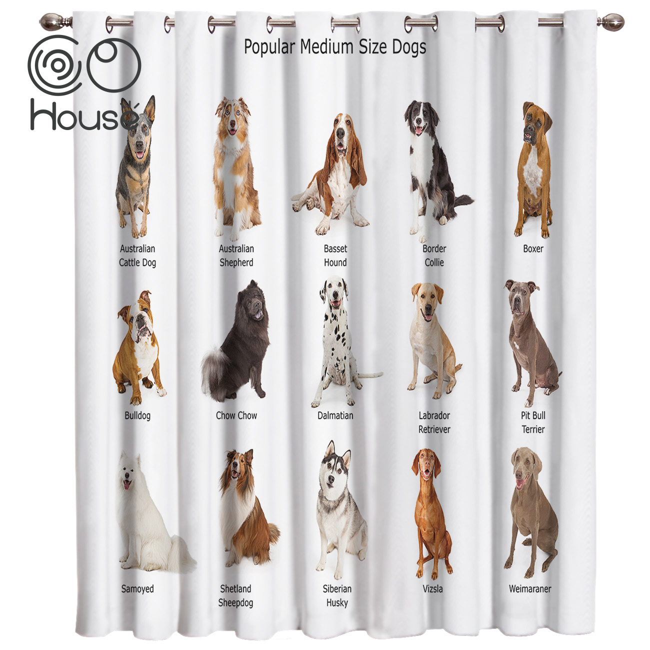 Popular Medium Size Dogs Curtains Decor Outdoor Fabric Indoor Curtain Panels With Grommets Window Treatment