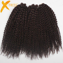 Synthetic Braiding Hair Per-loop Island Twists Unraveled Senegalese Twist Kinkly Curly #2 Brown Crochet Braids 16″ 3 pcs/pack