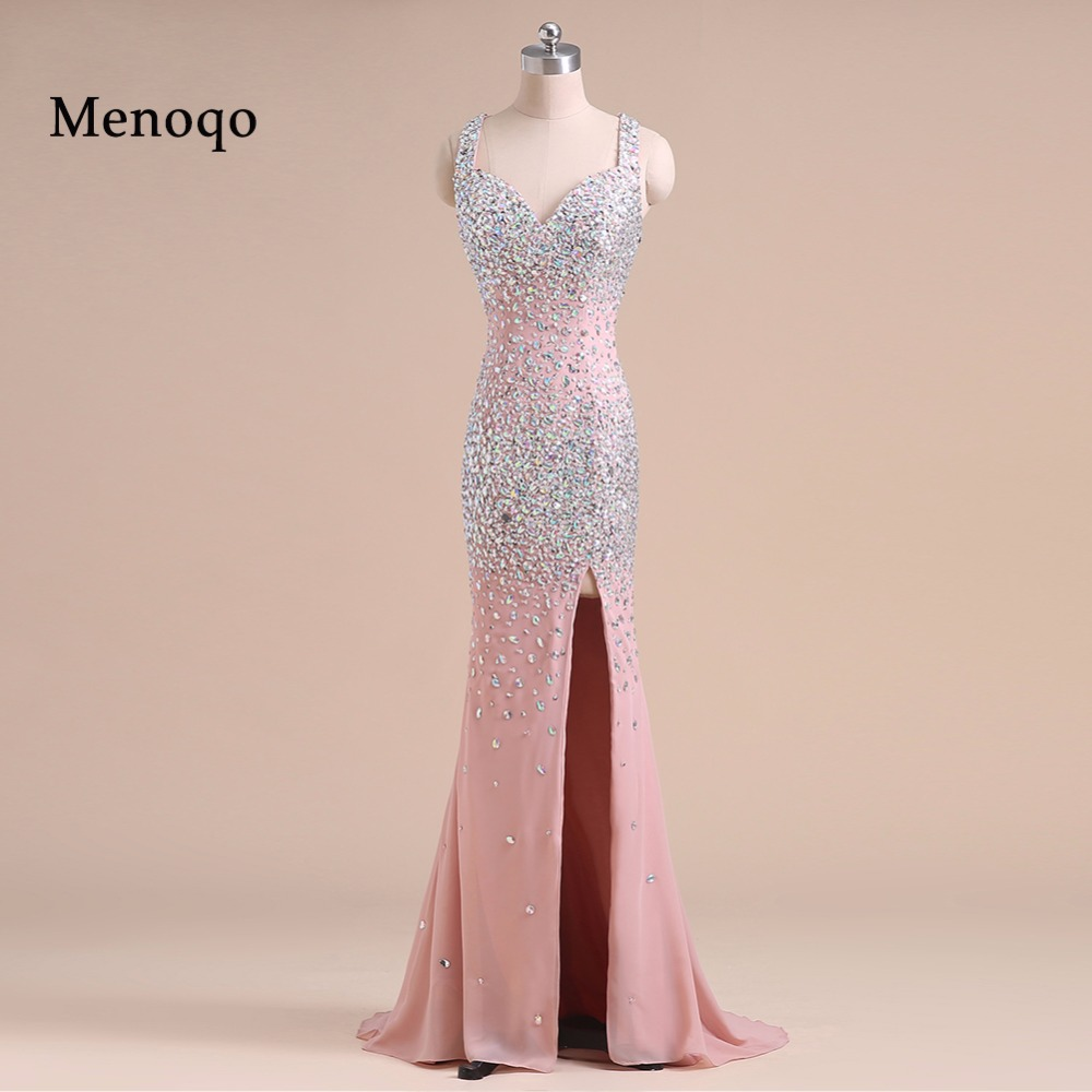 PRD269 Real Picture Dazzling Mermaid Fully Beaded Crystal Chiffon High Slit 2019 long fitted   prom     dress