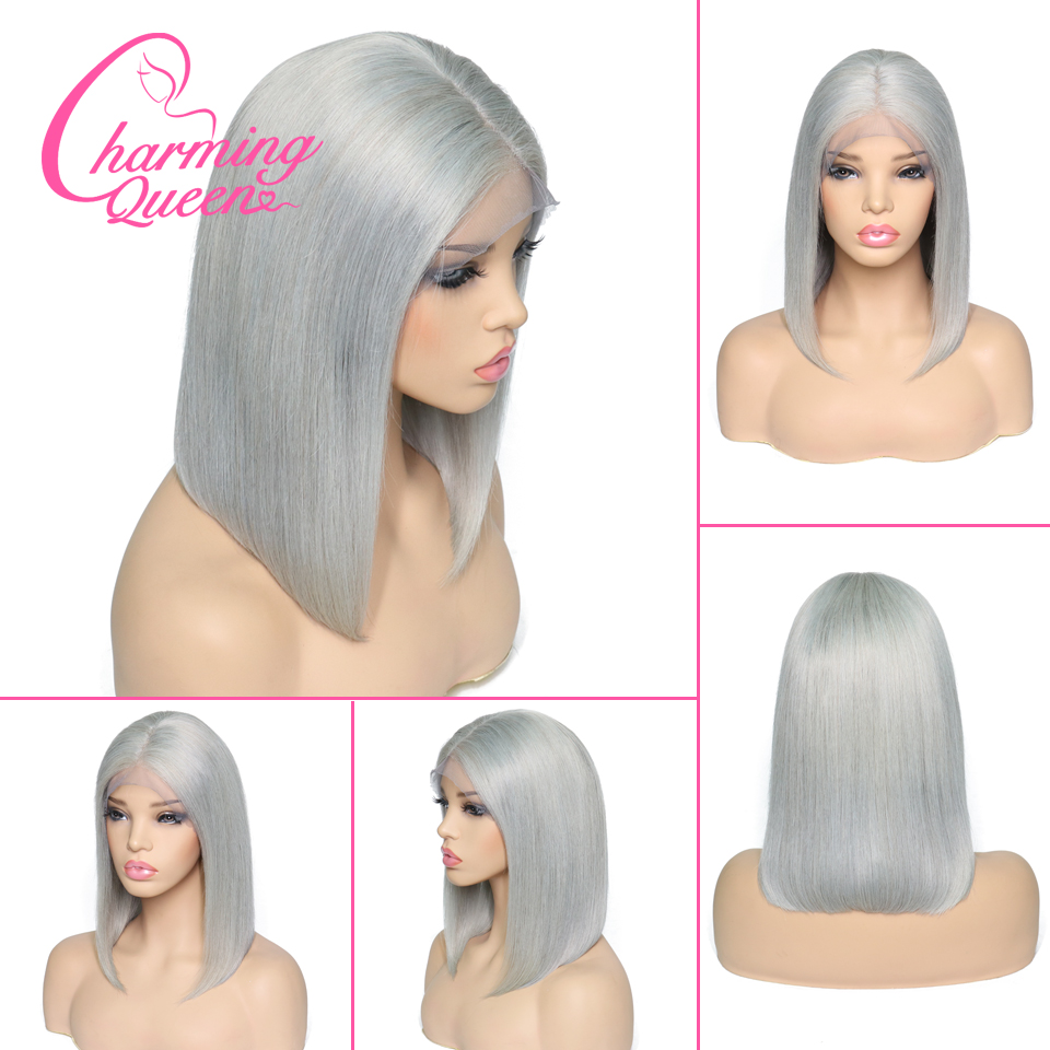 Lace Front Human Hair Wigs Pre Plucked Silver Gray Straight Brazilian Remy Hair Short Bob Wigs