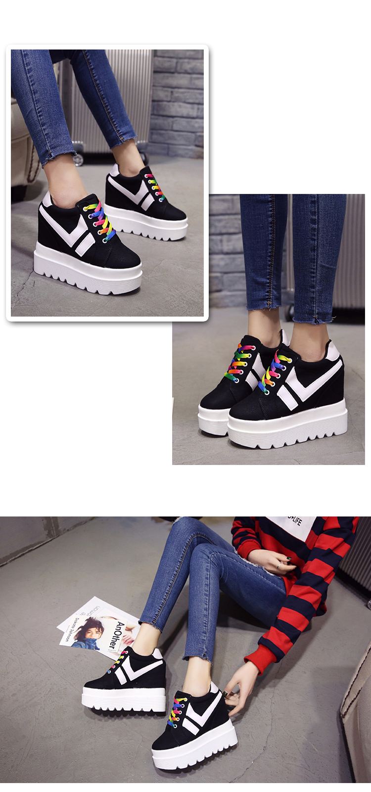 Nice New Korean Fashion Wild Super High Heels Shoes Breathable Comfort Thick Bottom Casual Shoes Women Single Shoes 12
