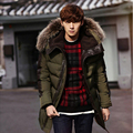 2017 winter jacket men blue green Thick warm parka men With fur collar Lengthen  men winter jacket Young Man