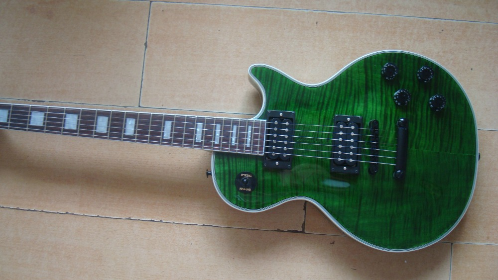 Free Shipping NEW Lp CUSTOM Green Guitar Black Hardware GOOD Flamed Top ZEBRA Pickup Mohogany Body One Piece Neck Grover Tuner In From Sports
