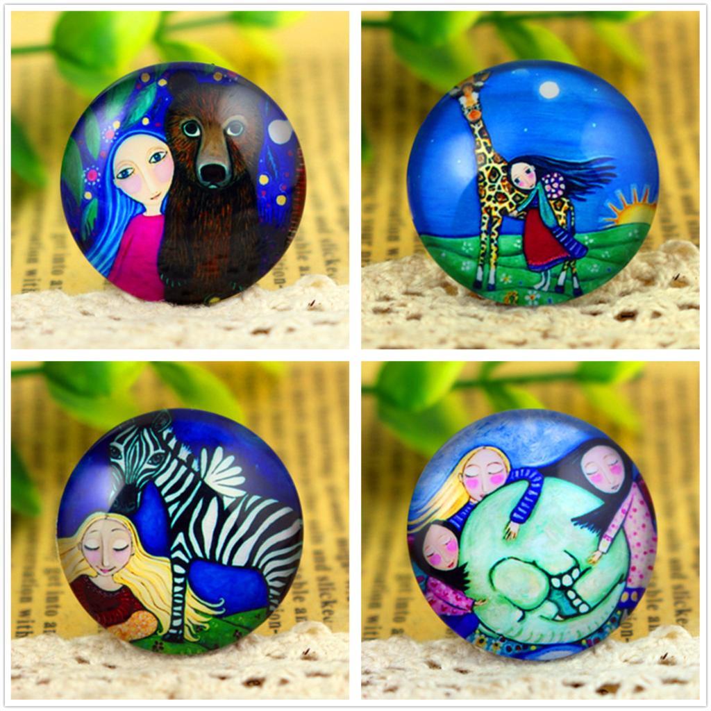 New Fashion  5pcs/Lot 25mm Handmade Photo Glass Cabochons  (Animal Girl Series)