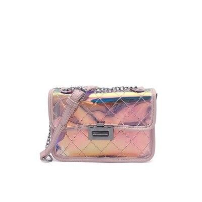 Magic color Transparent Bags Letter shoulder Bags Personality chains bag pink color FQX pink solid color off shoulder crop bodycon sweaters vests