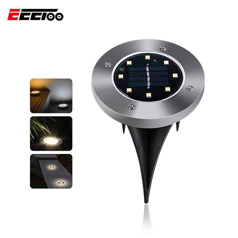 EeeToo Led Path Lights Solar Light Lamp 8 LEDs High Brightness Outdoor Lawn Street Light Decor Fixtures for the Garden Lighting