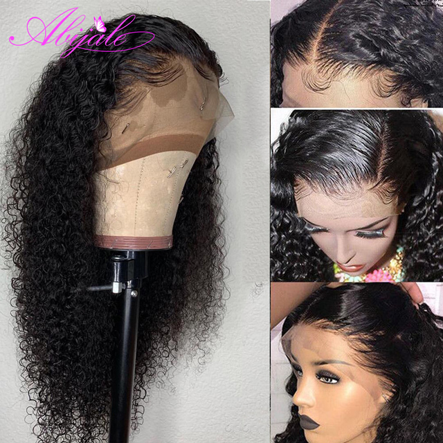 Abijale Kinky Curly Lace Front Human Hair Wigs 13x6 Brazilian Wig 150% Density for Black Women Pre Plucked Remy