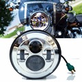 Super Bright Motorcycle 12V LED Projector headlight Round 7 inch Daymaker Headlamp H4 High/Low Beam for Harley Softail Models