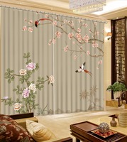 Photo Customize Size Bird Flower Custom Curtains Bedroom Curtain Patterns Personalized Decor