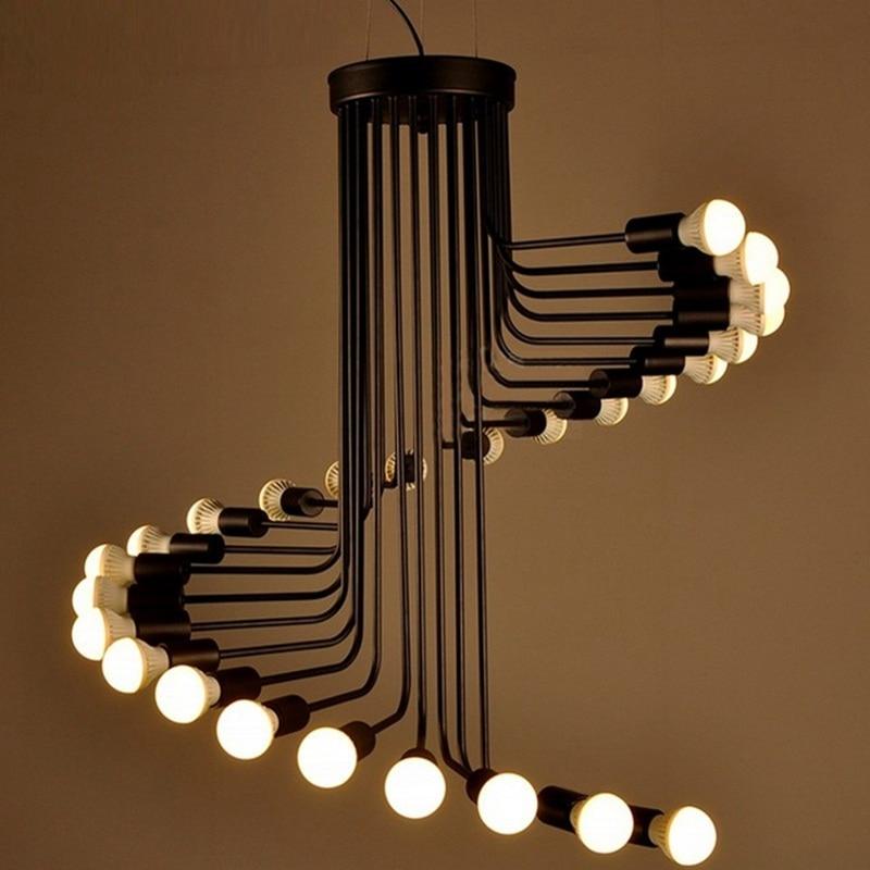 LukLoy Loft Modern Pendant Lights, Iron Spiral Staircase Modern Lighting Fixture for High Ceilings Office Shop Bar Cafe Decor