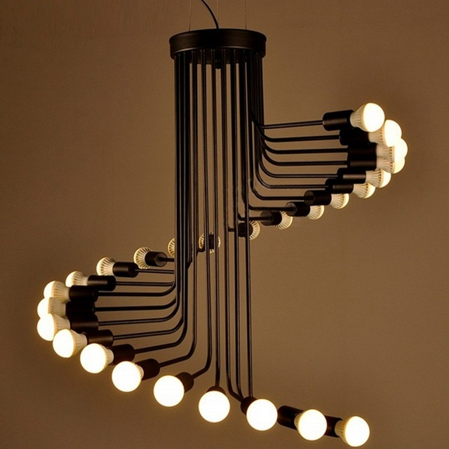 Lukloy Loft Modern Pendant Lights Iron Spiral Staircase Lighting Fixture For High Ceilings Office Bar Cafe Decor