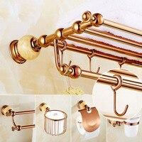 Bathroom Hardware Brass Towel Rack Paper Holder Towel Bar Corner Shelf Toilet Brush holder Rose Gold Bathroom Accessories Set