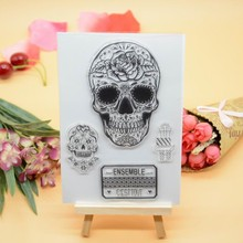 CS1225 Scrapbook DIY Photo Album Cards Transparent Acrylic Silicone Rubber Clear Stamps Sheet  11x16cm Skull