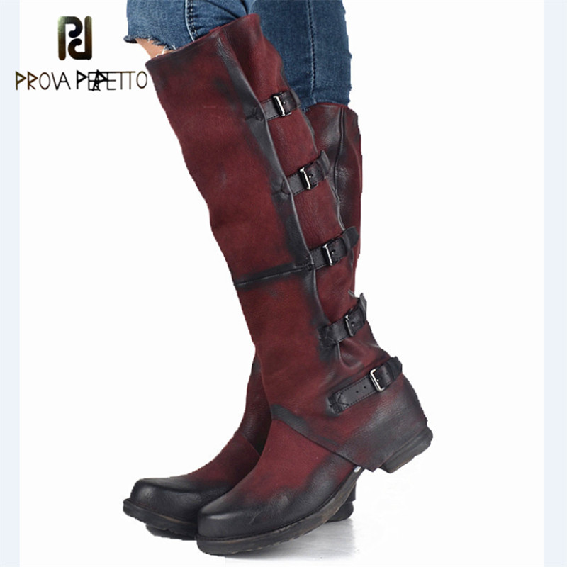 Prova Perfetto Original High Quality Genuine Leather Buckle Do Old Knee High Boots Solid Zipper Square