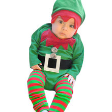 Christmas Baby Boys Rompers New Year Green X'mas Outfits Cap Suits Cute Baby Clothes Bebe Jumpsuits Overalls Costumes Romper Hat(China)