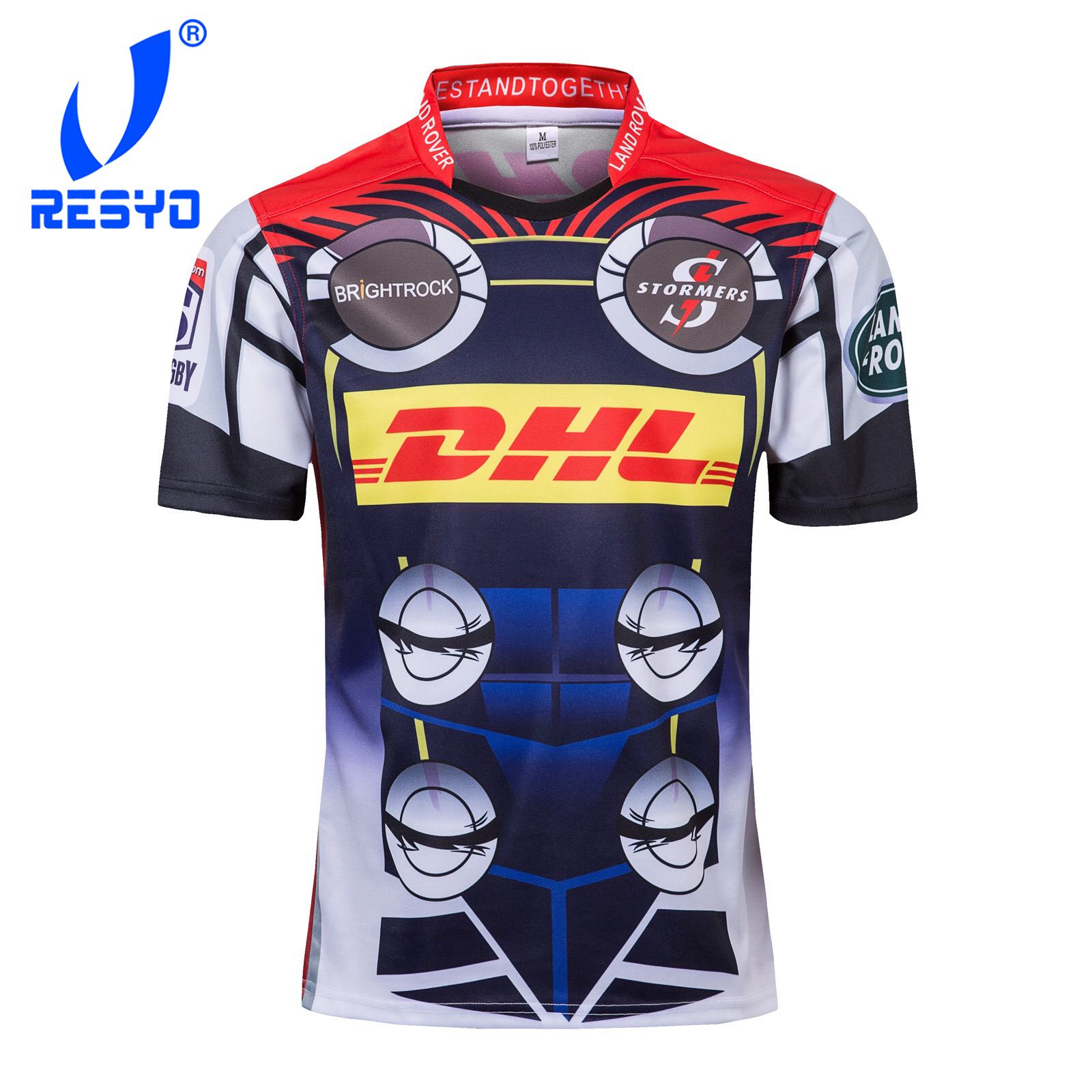 RESYO For 2019 Super Rugby XV DHL Stomers Heroes Version Men's RUGBY JERSEY  Sport Shirt Size:S-3XL Free Shipping